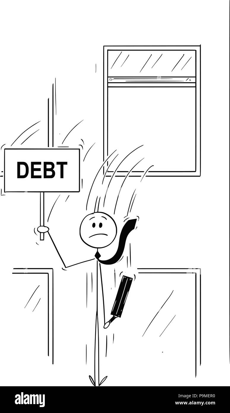 Cartoon of Businessman or Banker Jumping Out of the Window With Debt Sign - Stock Vector