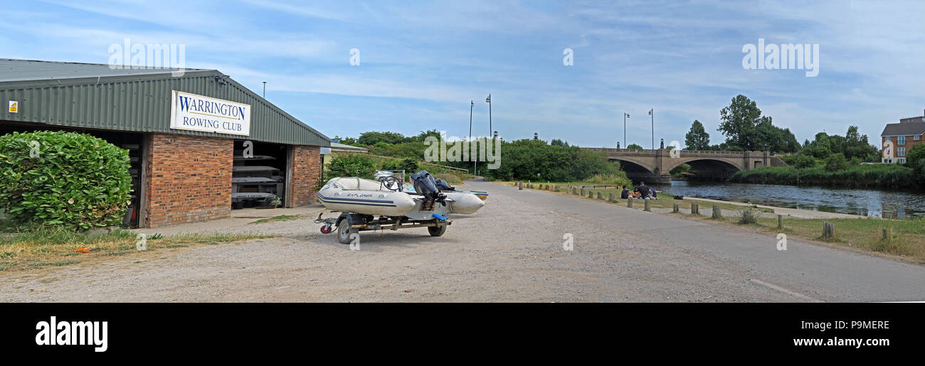 Warrington Rowing Club pano, Low Tide Mersey River, Summer 2018, cheshire, North West England, UK - Stock Image