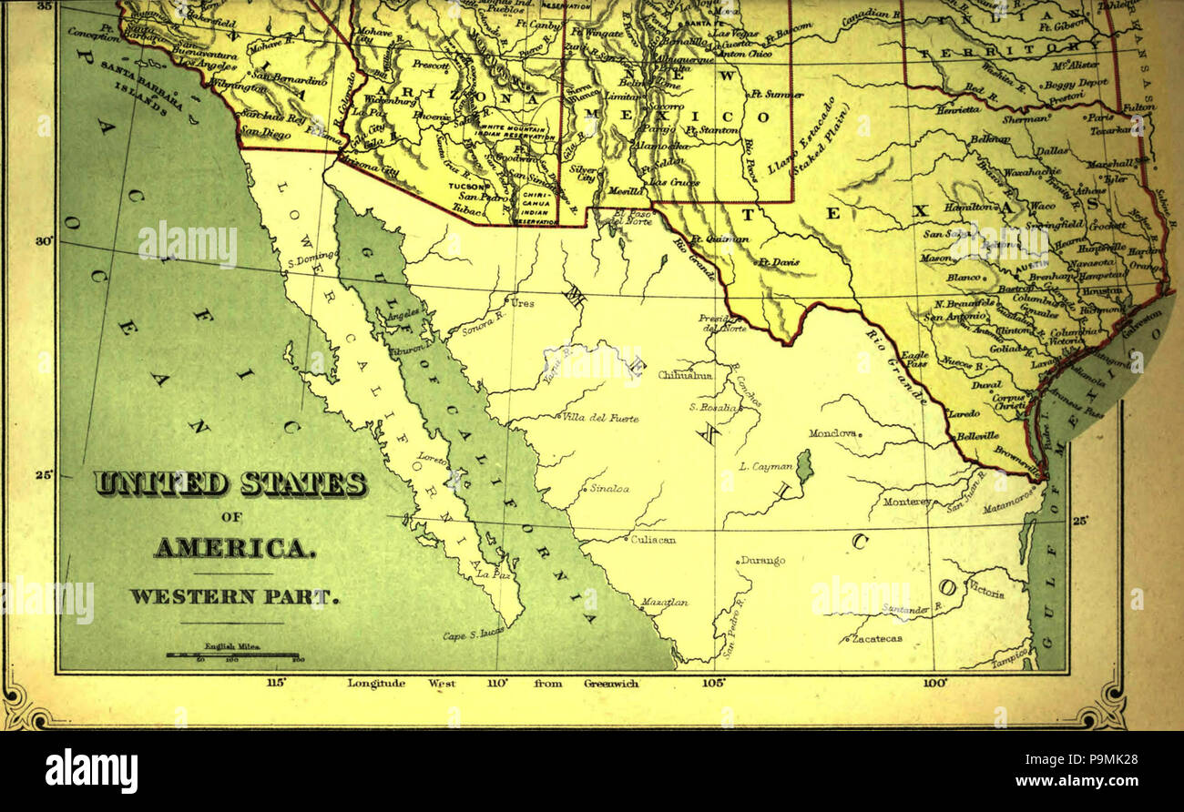 Southwest America Map.English Map Of The Southwest Portion Of The United States 1879 122