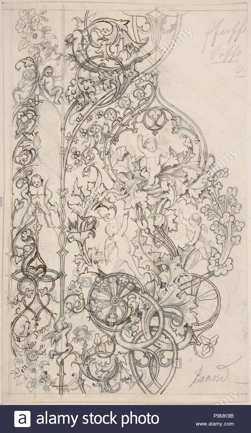 Gothic Ornament with Putti and Acanthus Leaves, 19th century, Pen and black and brown ink, and graphite, sheet: 10 7/8 x 6 3/4 in. (27.6 x 17.1 cm), Drawings, Attributed to Bernd (German (?)) ?. - Stock Image