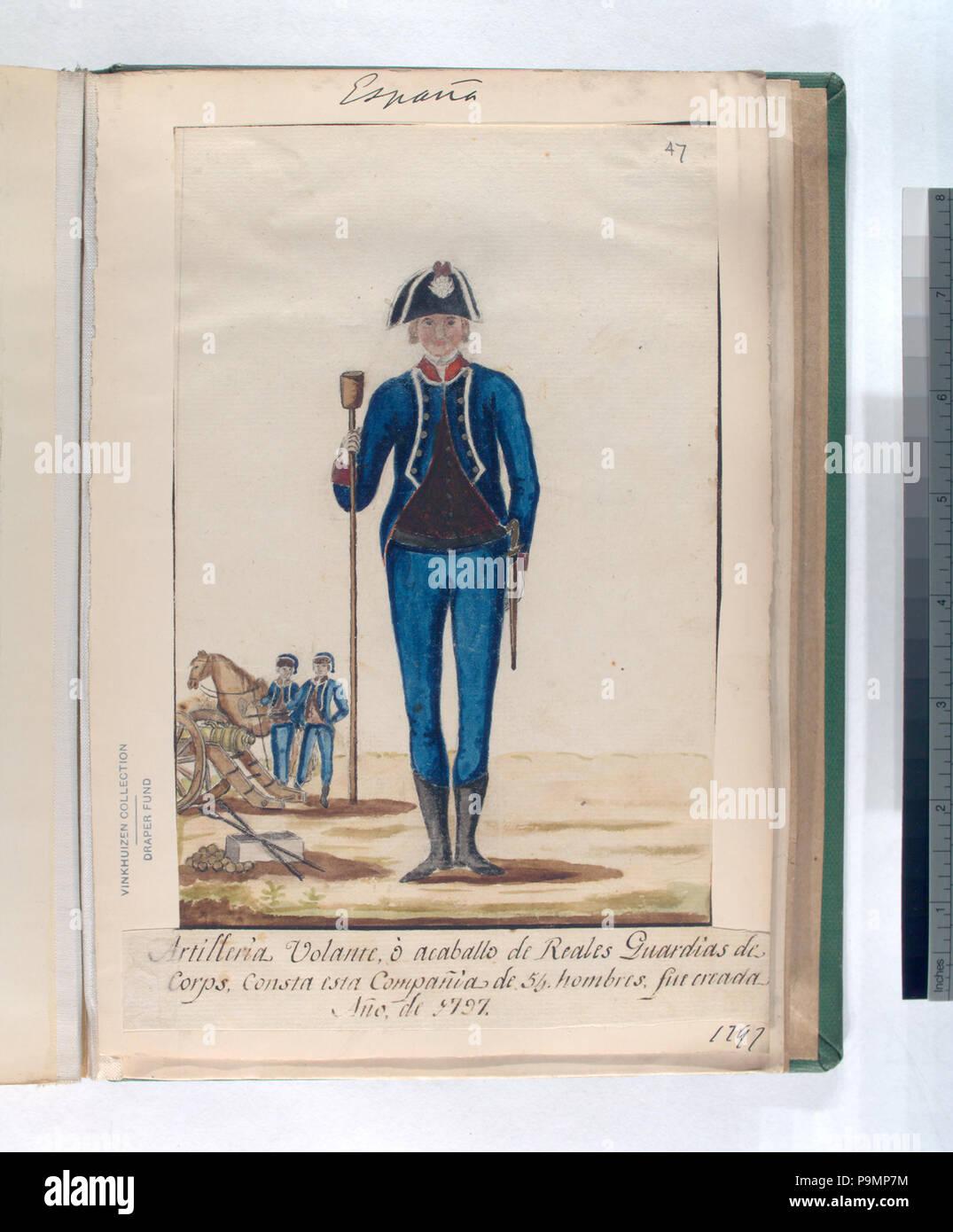 159 Artilleria Volante, ó acaballo de Reales Guardias de Corps. Consta esta Compañia de 54 hombres, fue creada Año, de 1797 (1797) (NYPL b14896507-87746) - Stock Image