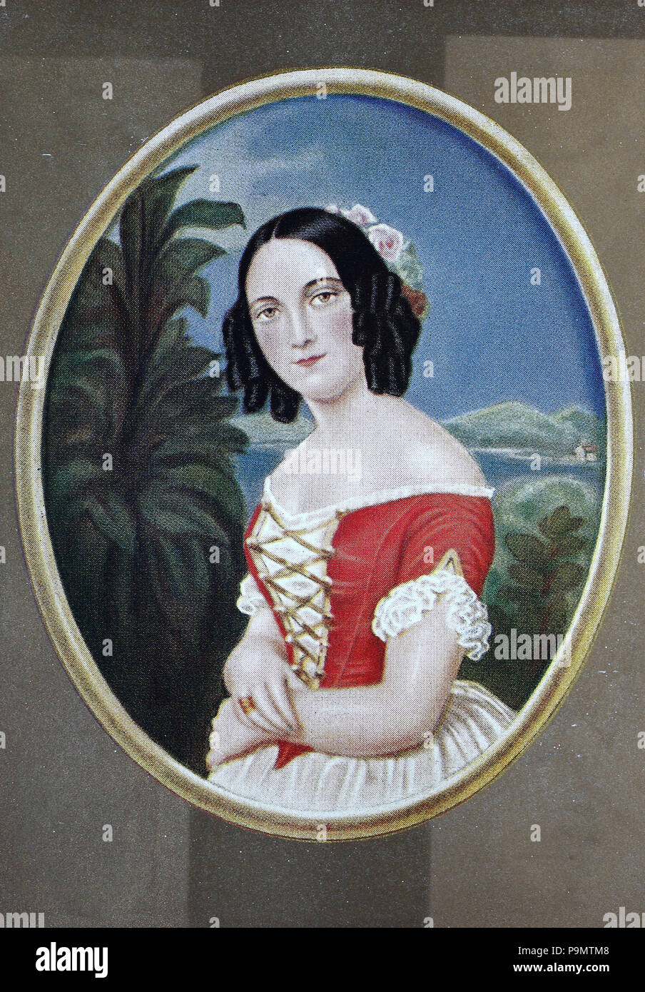 Karoline Stelzner, 1813 - 1875, digital improved reproduction of an original print from the year 1900 - Stock Image