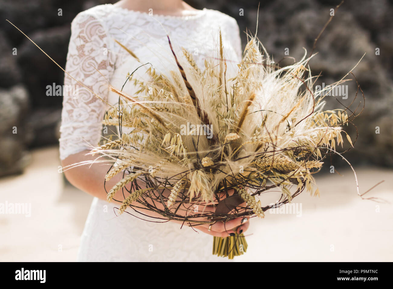 Wedding Bouquet With Dried Flowers And Spikelets Boho Style In