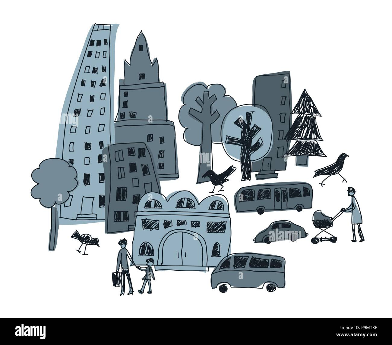 Doodles urban city abstract landscape and people - Stock Vector