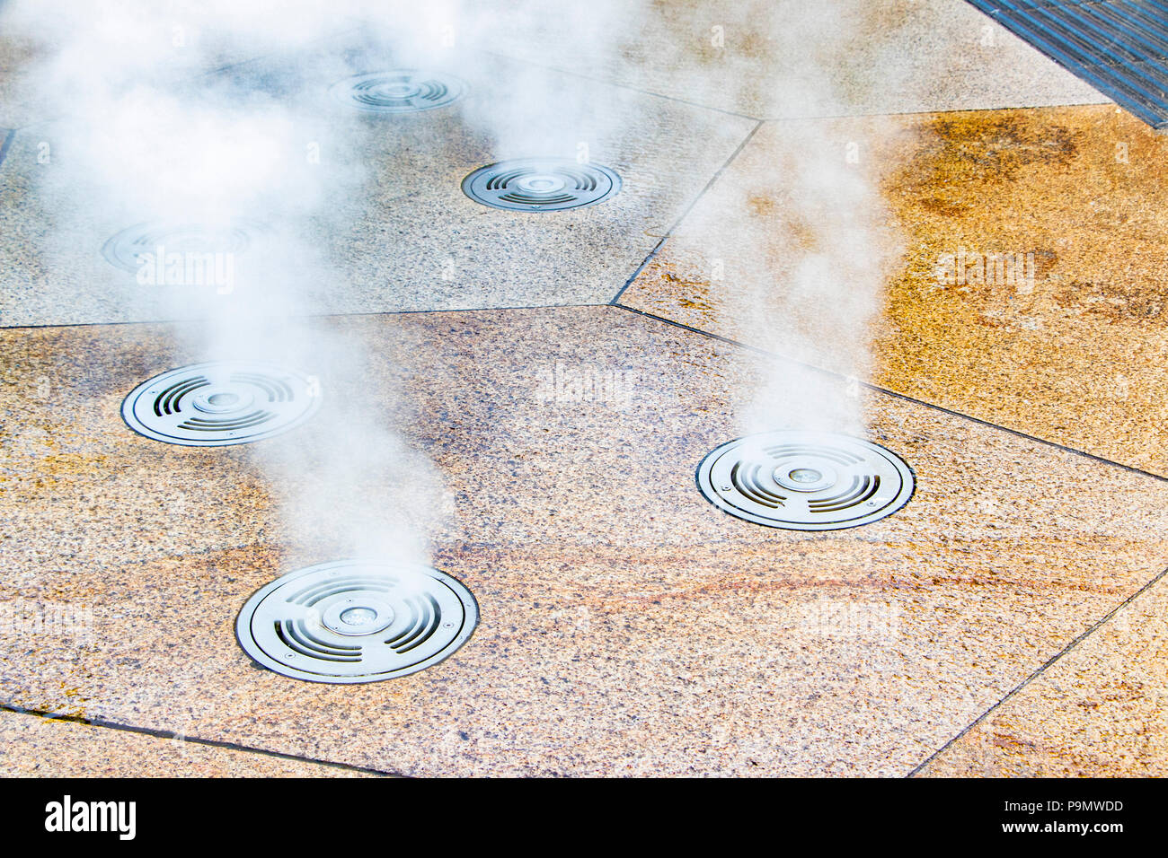 lighting with steam vents outside One Smithfield, Hanley, Stoke on trent - Stock Image