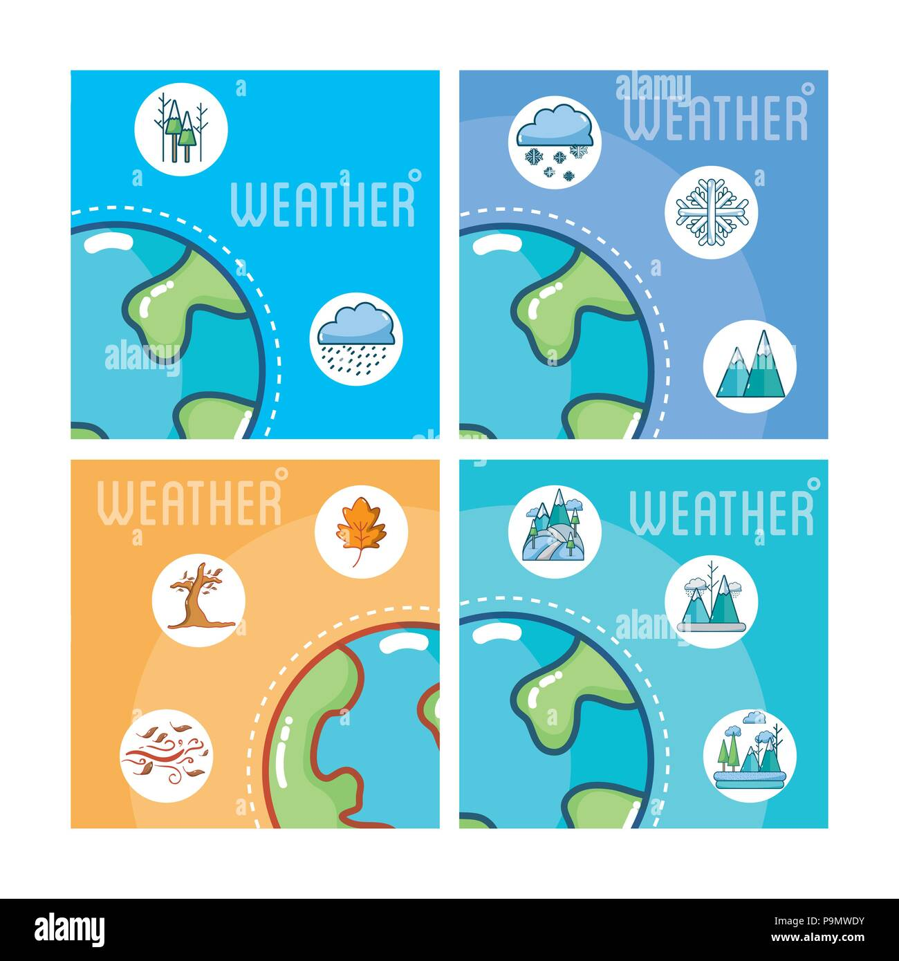 Set of weather cards - Stock Vector