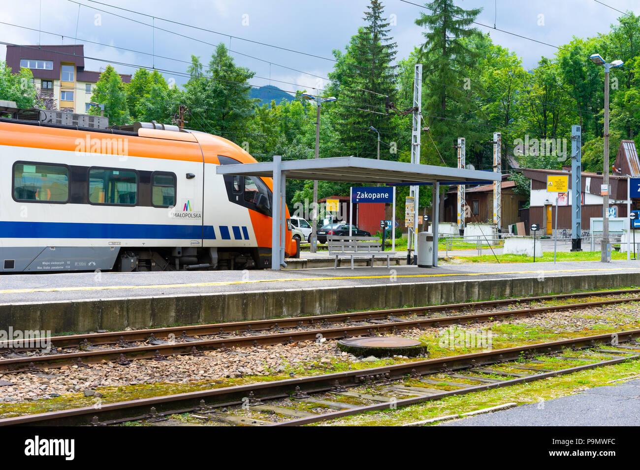 Malopolska Train at Zakopane rail station, Zakopane, South Poland, Europe, - Stock Image