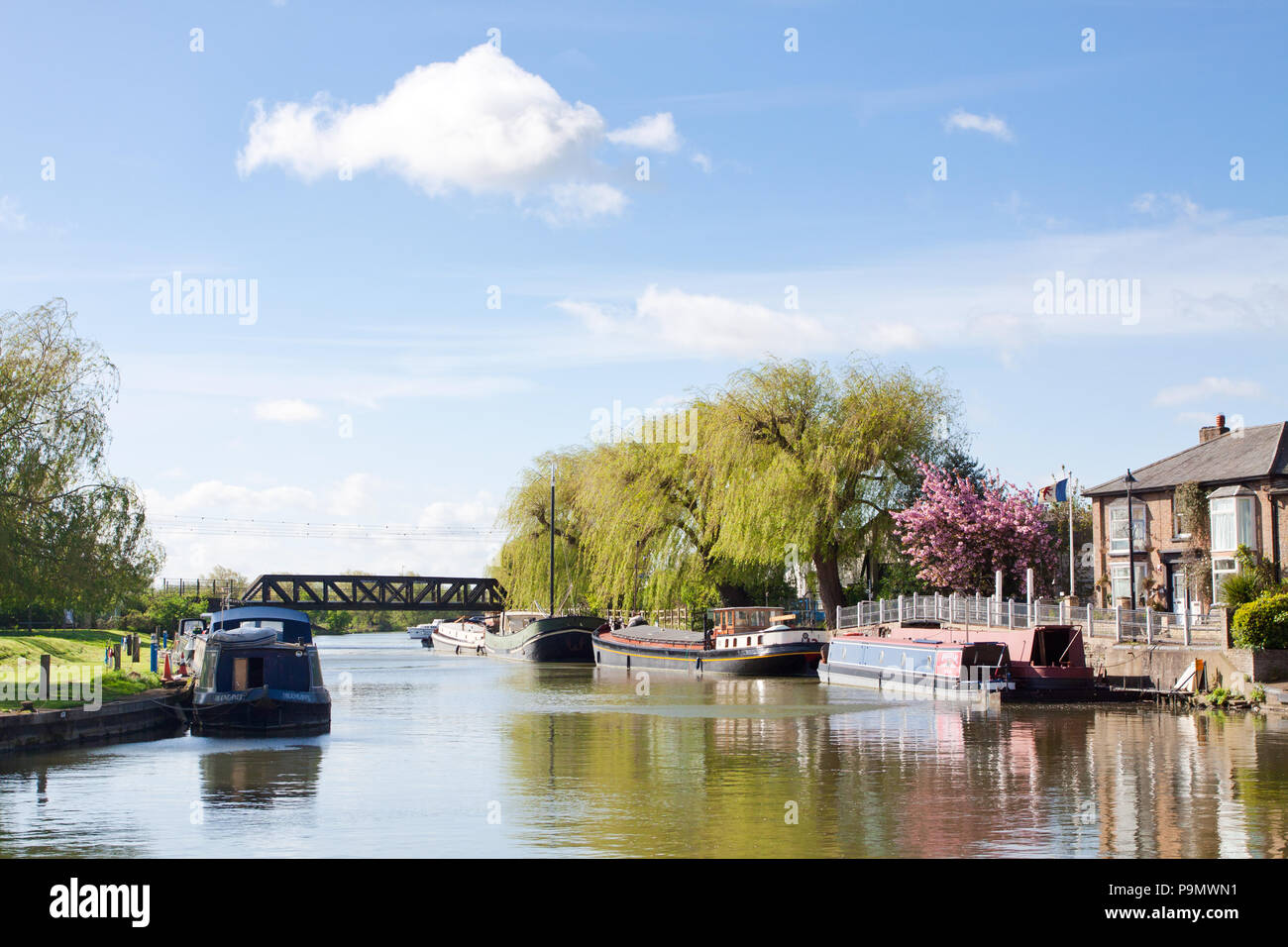Great  Ouse riverside in sunny spring day - Stock Image
