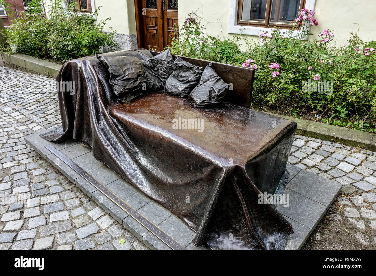 Couch in front of the Sigmund Freud birthplace, house, Pribor, Moravia, Czech Republic - Stock Image