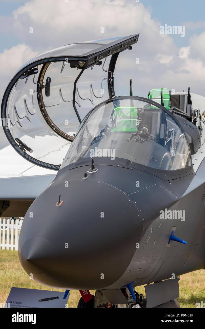 warplane fighter jet cockpit and canopy. - Stock Image