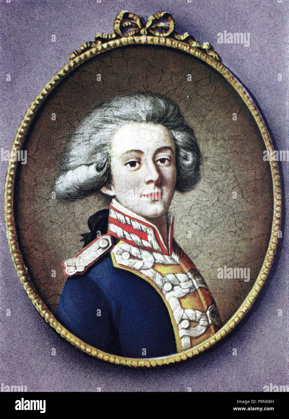 Marie-Joseph Paul Yves Roch Gilbert du Motier, Marquis de Lafayette, 6 September 1757 – 20 May 1834, in the United States often known simply as Lafayette, was a French aristocrat and military officer who fought in the American Revolutionary War, digital improved reproduction of an original print from the year 1900 - Stock Image