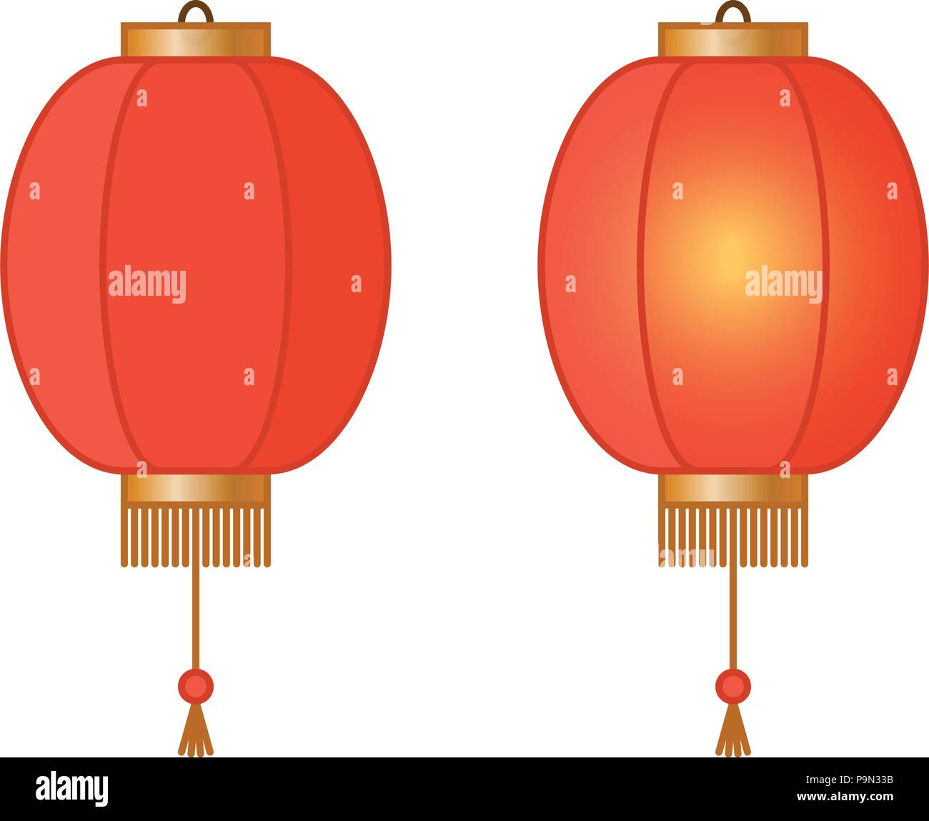 Red Chinese traditional paper lantern with light inside, fairy lights, asian lamps, vector illustration Stock Vector