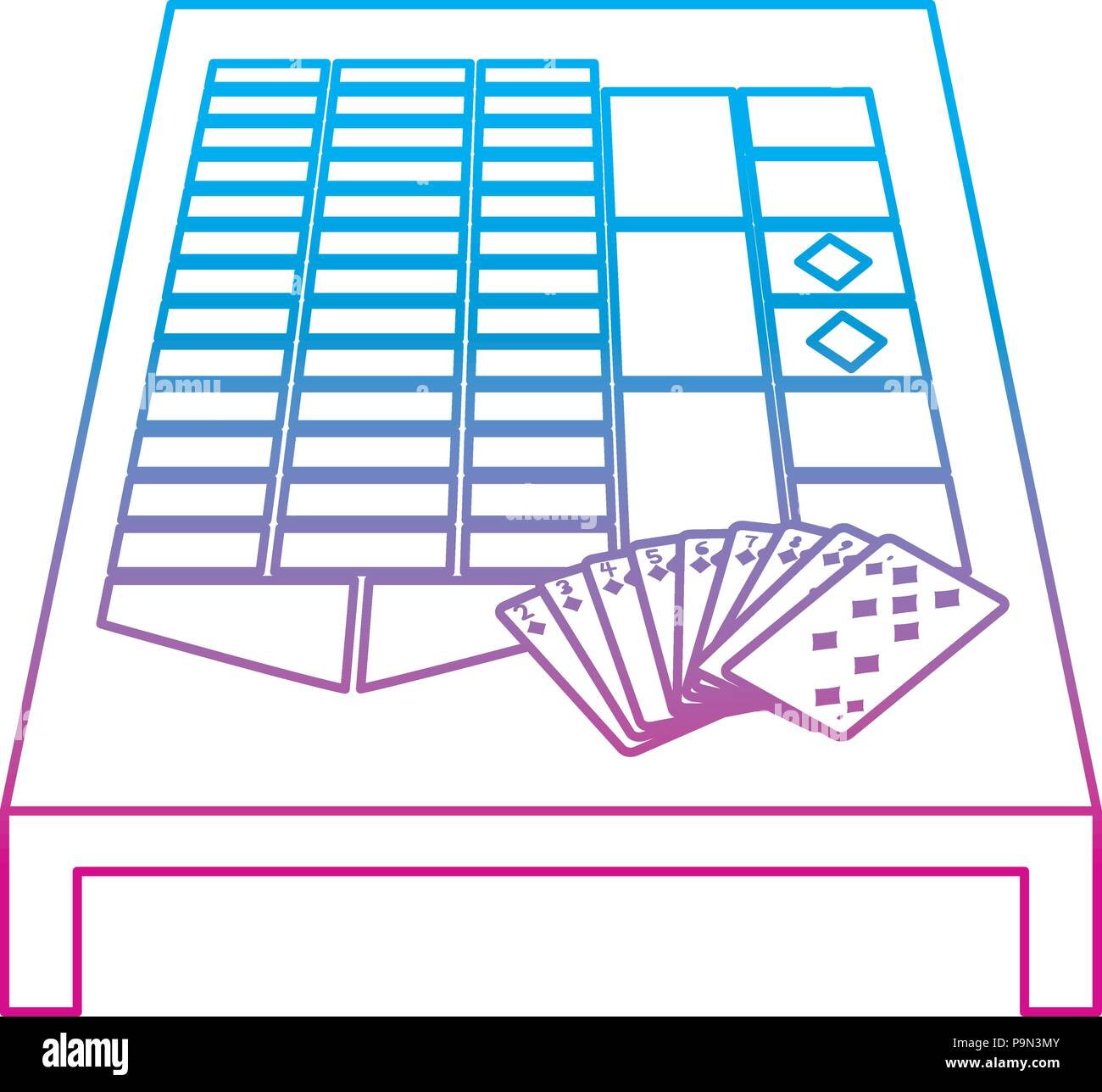 degraded line casino cards rentals fortune game - Stock Vector