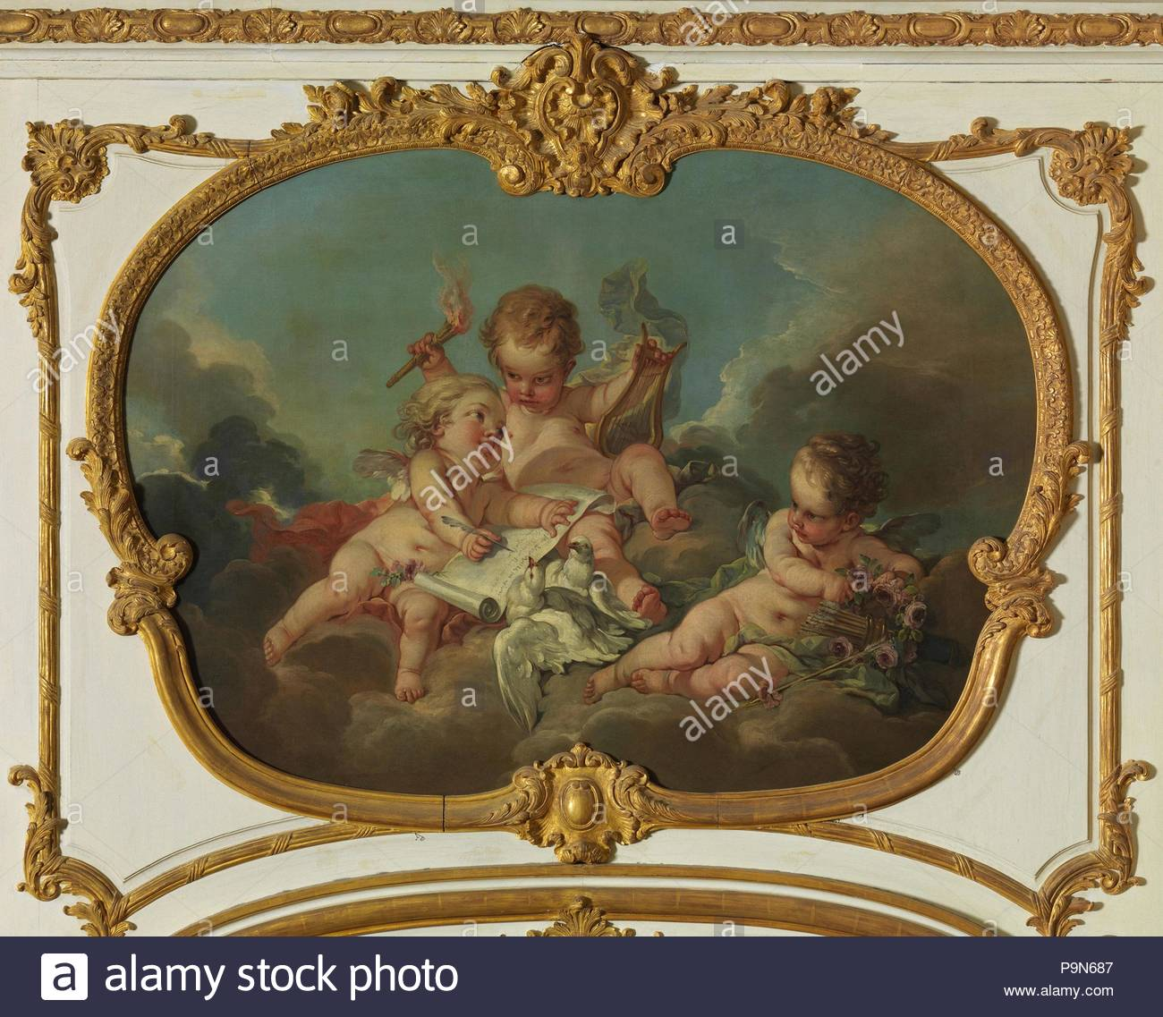 Allegory of Lyric Poetry, 1753, Oil on canvas, Irregular, 45 1/4 x 62 3/4  in. (114.9 x 159.4 cm), Paintings, François Boucher (French, Paris  1703–1770 ...