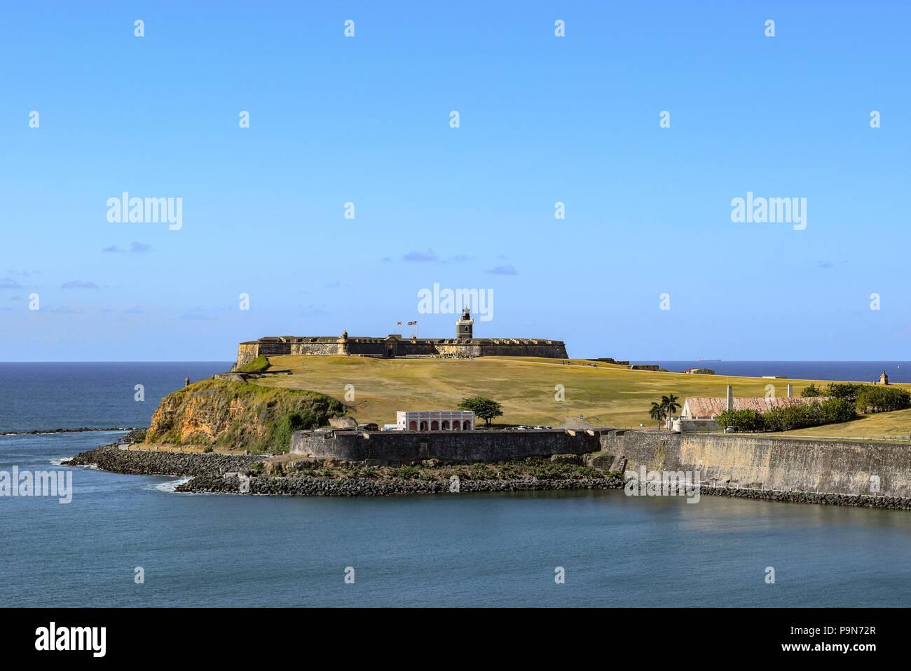 San Juan, Puerto Rico - April 02 2014: View from the ocean of the historic Castillo San Felipe del Morro on the coastline of Old San Juan. - Stock Image