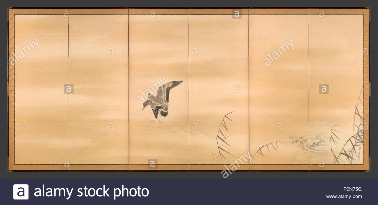 ?????; ????????, Goose and Reeds; Willows and Moon, Edo period (1615–1868), right screen: 1774; left screen: 1793, Japan, Pair of six-panel folding screens; ink, color and gold on paper, Each: Image: 60 9/16 in. × 11 ft. 7 1/2 in. (153.9 × 354.4 cm), Screens, Maruyama Okyo (Japanese, 1733–1795), A single goose, wings spread and neck outstretched, swoops down toward the surface of the water. The only indications of the beach upon which the goose prepares to land are the tops of several spindly, dried reeds in the lower-right corner as well as waves cresting near the shore. - Stock Image