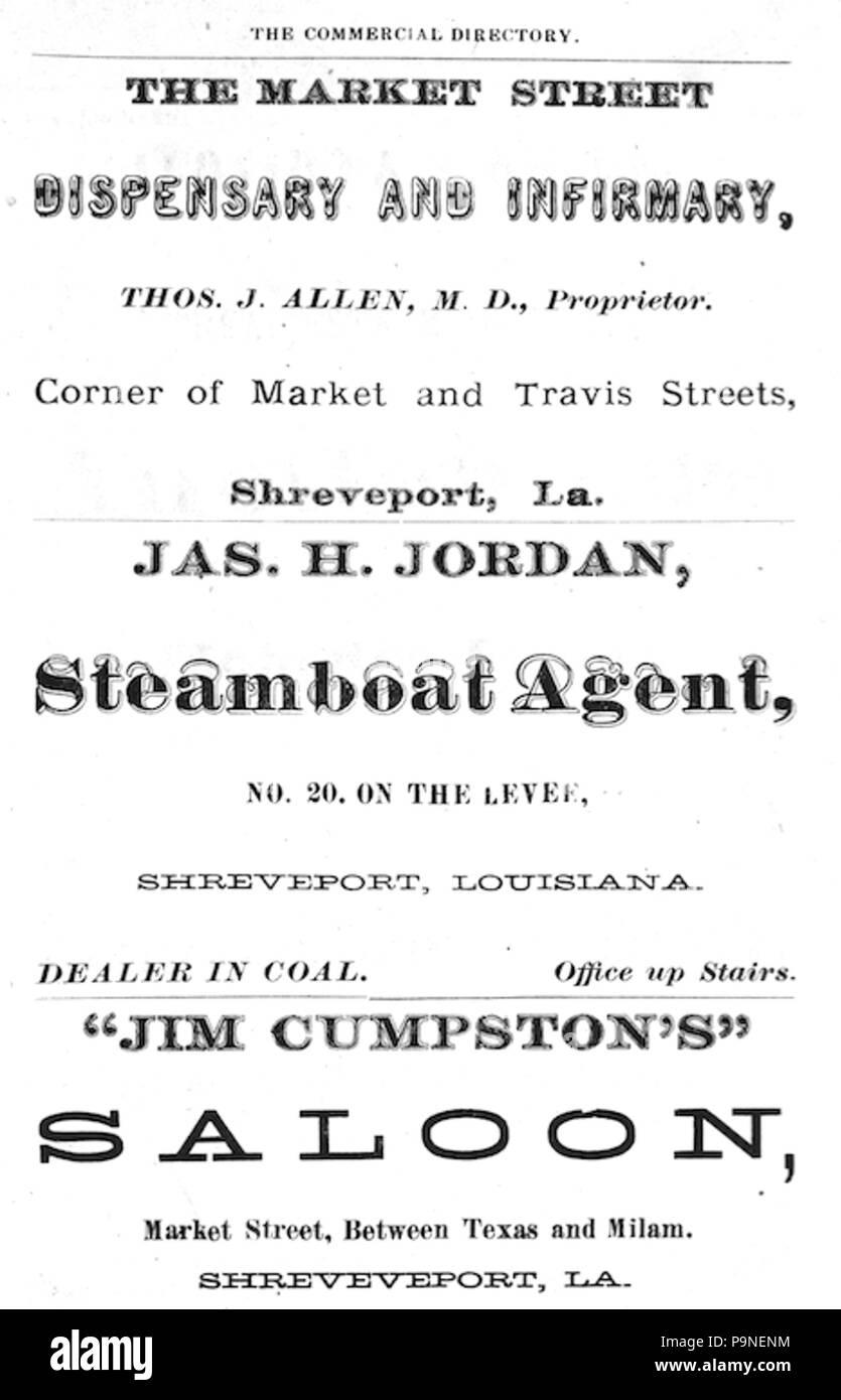20 1875 adverts Market Street in Shreveport Louisiana - Stock Image