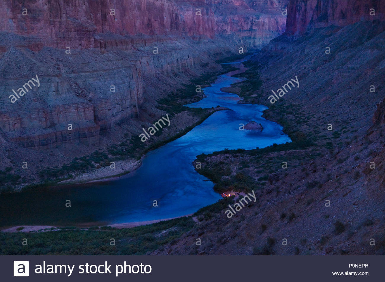 A boater's campfire from the Ancient Puebloan Nankoweap granaries. - Stock Image