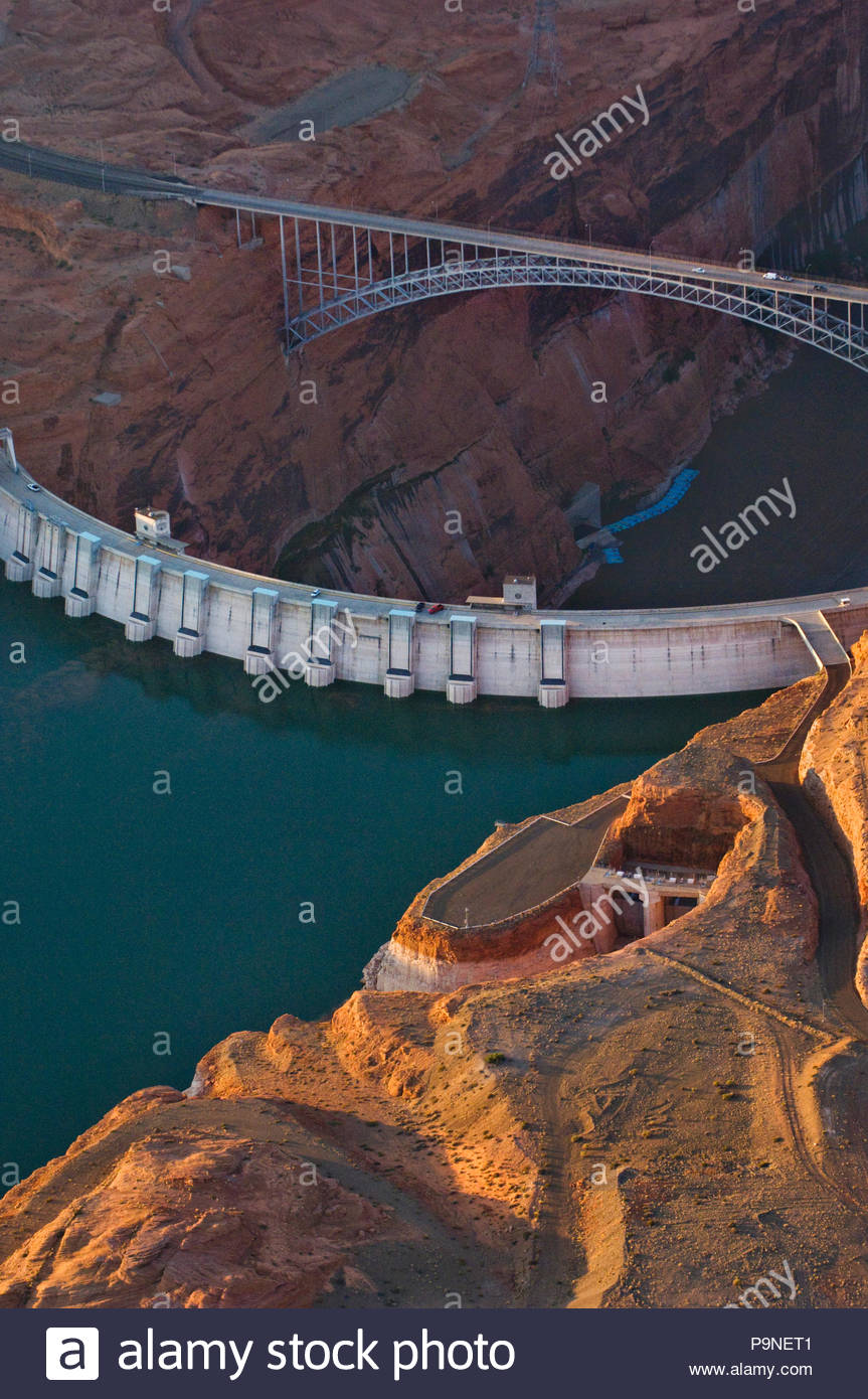 The high and dry spillway, right, on the Glen Canyon Dam. Stock Photo