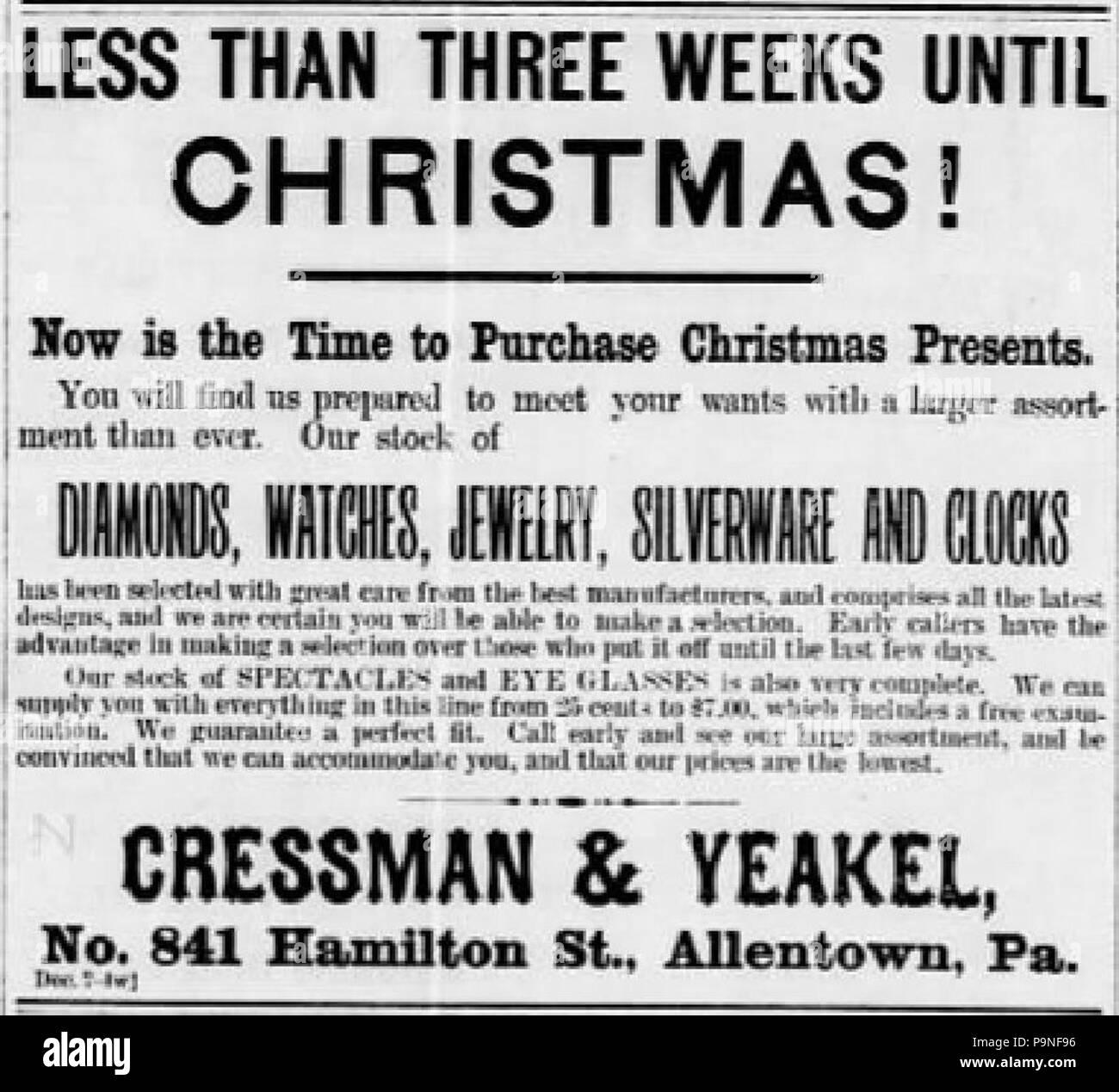 22 1892 - Cressman & Yeakel - 14 Dec MC - Allentown PA Stock Photo