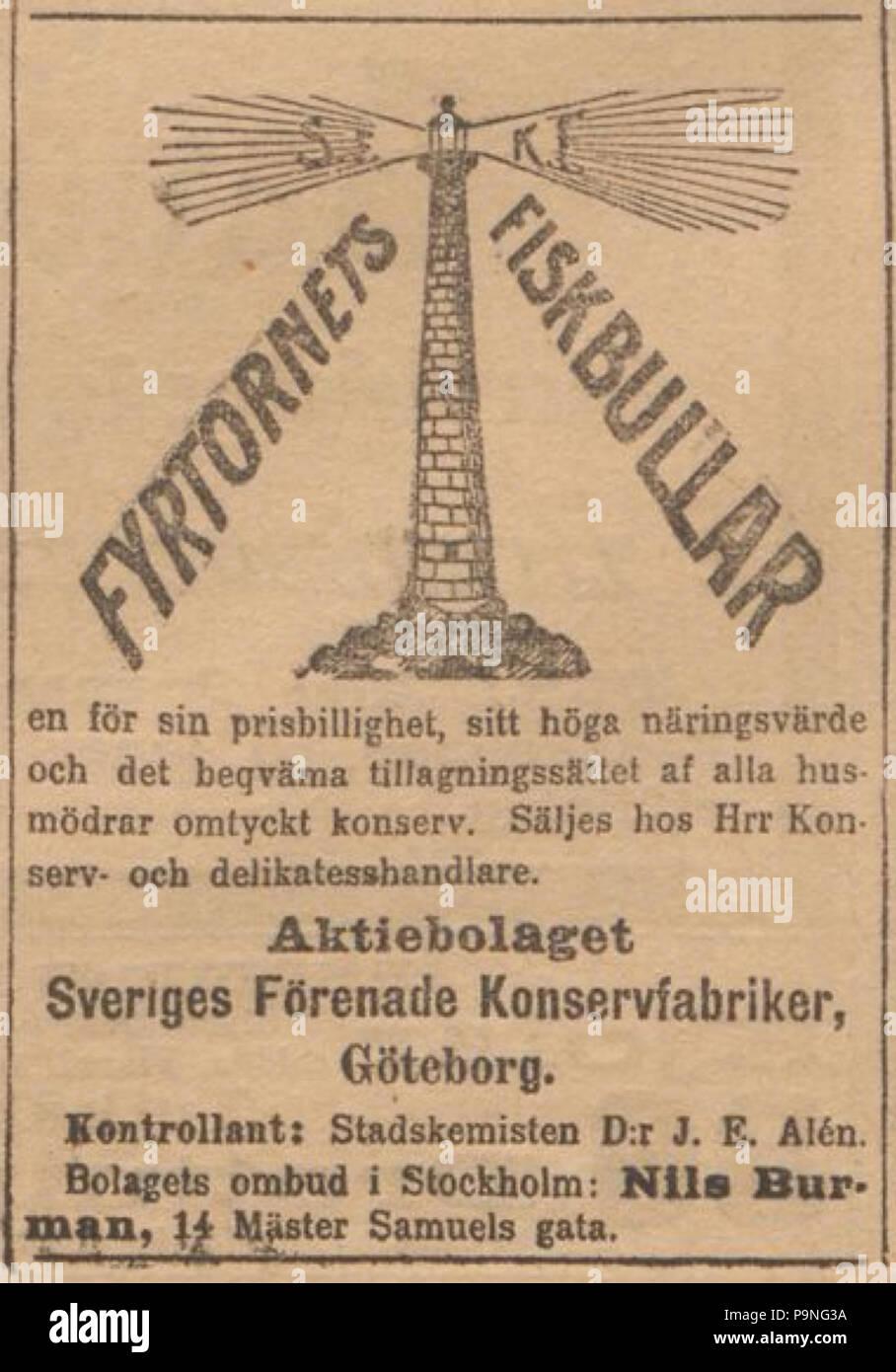 24 1899-05-08. Annons för AB Sveriges förenade konservfabriker i Svenska Dagbladet Stock Photo