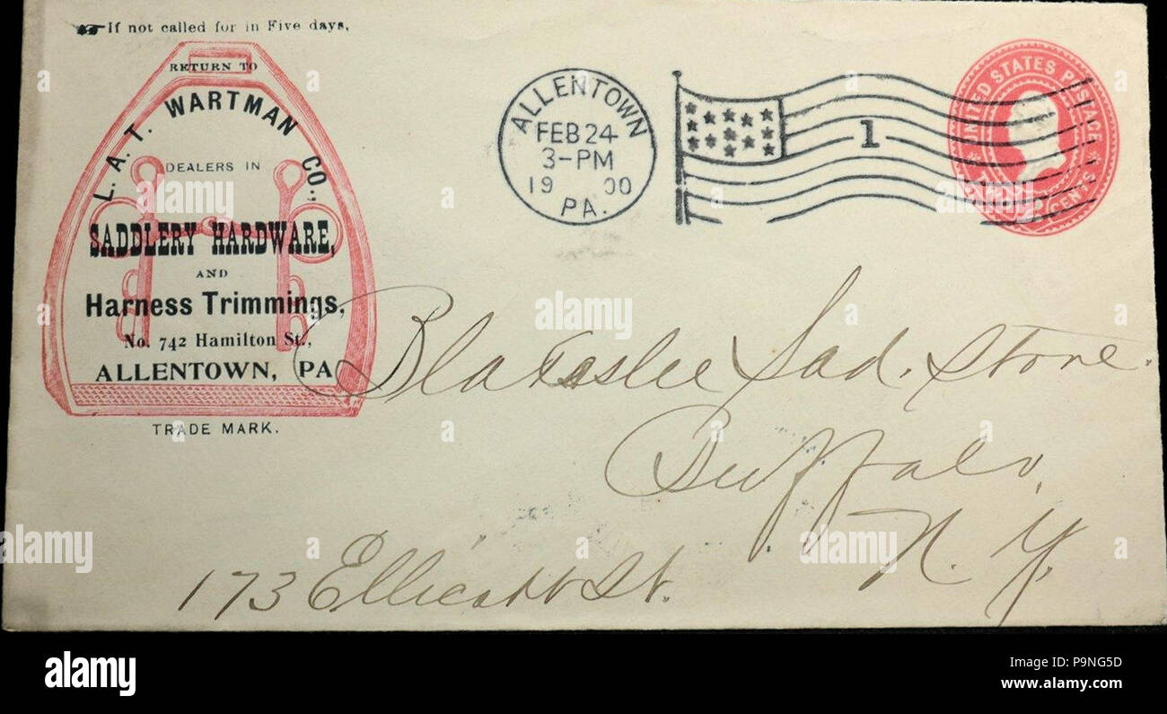 25 1900 L A T Wartman Company Stationary Allentown Pa Stock