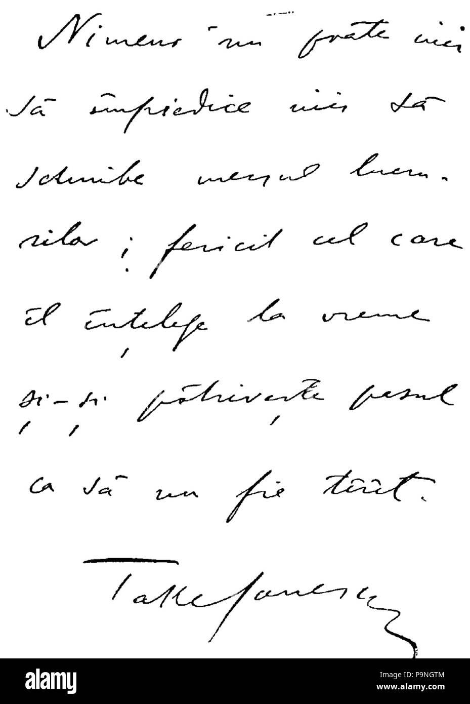 28 1908 - Autograf trimis de Take Ionescu revistei Gazeta de Transilvania din Brasov la aniversarea de 70 de ani - Stock Image