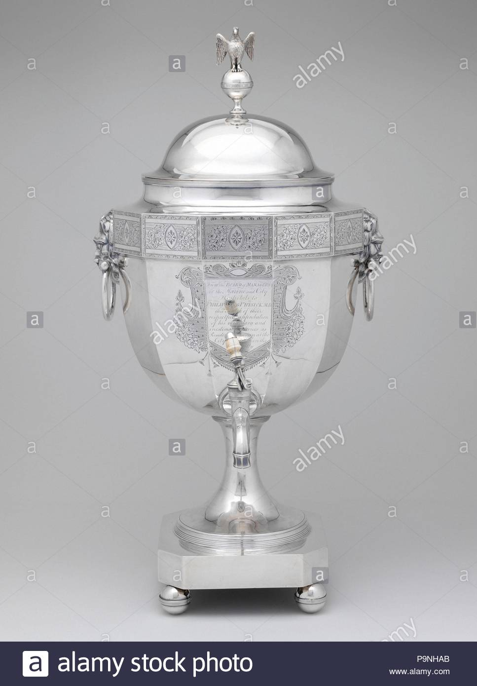 Tea or hot water urn, 1799, Made in Philadelphia, Pennsylvania, United States, American, silver with ivory handle, 21 3/4 x 11 1/8 x 13 1/8 in., 166 Troy Ounces (55.2 x 28.3 x 33.3 cm, 5171 Grams), Silver, John McMullin (1765–1843), The yellow fever epidemics of 1793 and 1798 devastated the city of Philadelphia, killing thousands and forcing many to flee what was then the nation's capital and largest city. Among those who remained behind to tend the stricken was Dr. - Stock Image