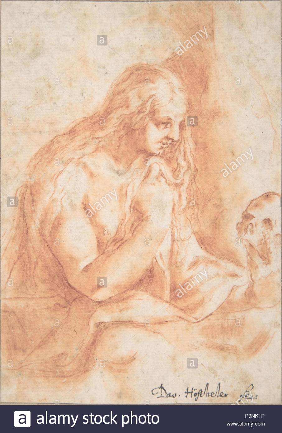 Mary Magdalen Penitent, 17th century, Red chalk, sheet: 4 13/16 x 3 3/8 in. (12.2 x 8.6 cm), Drawings, David Höscheler (Swiss (?), active 17th century). - Stock Image