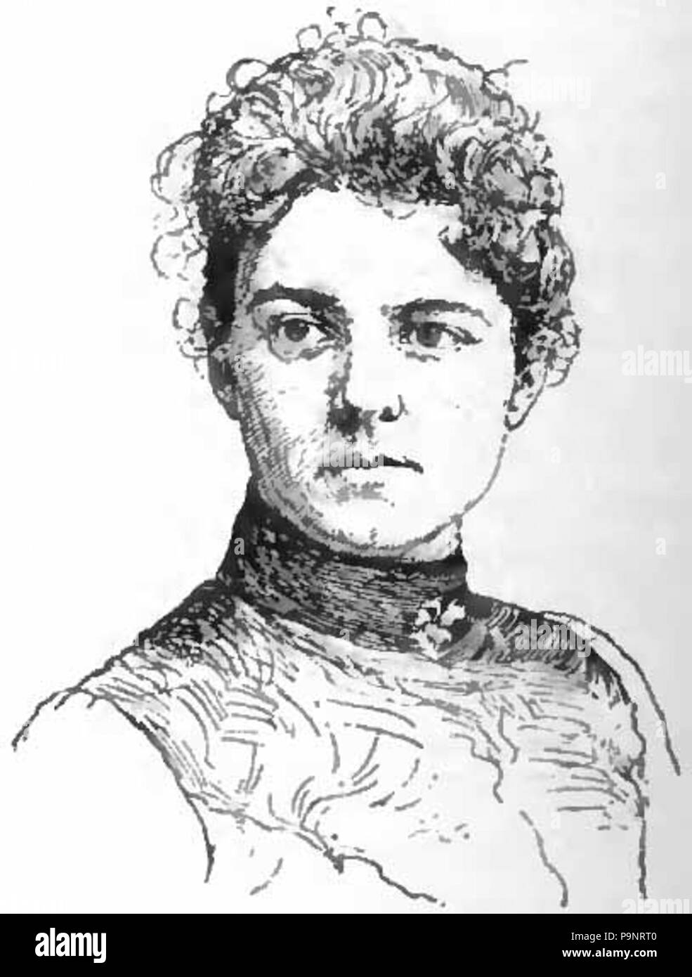 English Portrait Drawing Of Frances Cleveland Wife Of