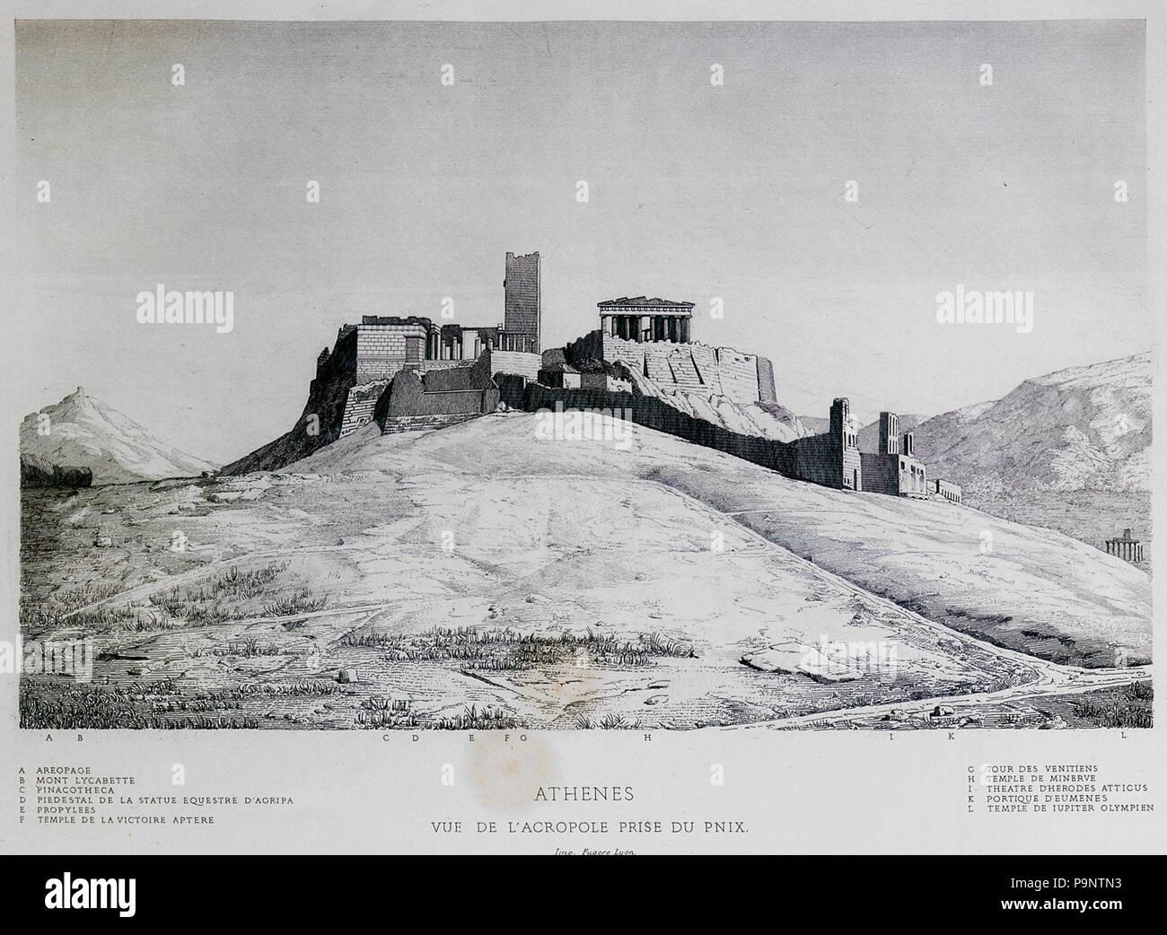 164 Athènes Vue de l'Acropole prise du Pnix - Chenavard Antoine-marie - 1857 Stock Photo