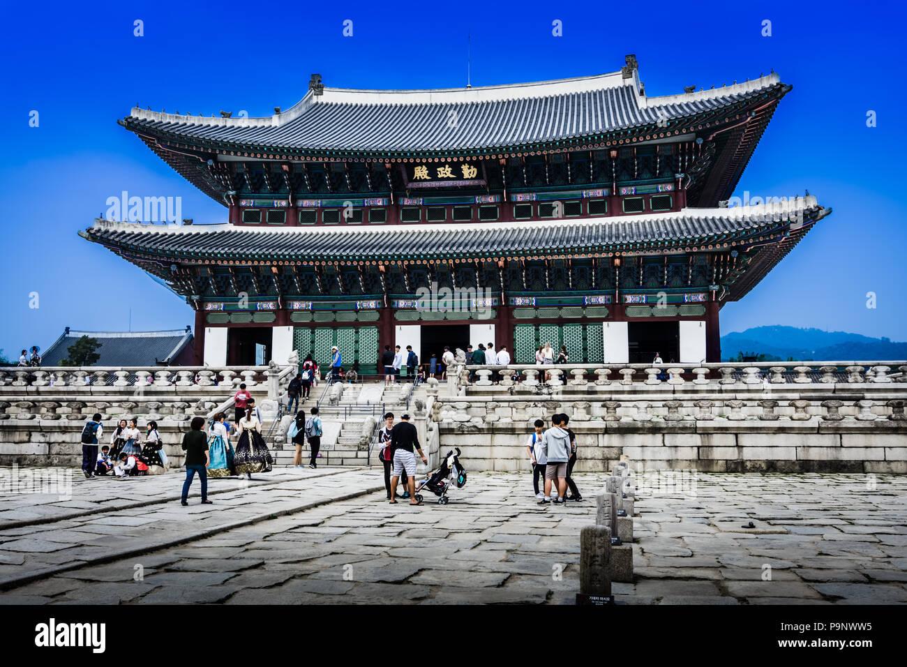 Seoul, Korea - May 11, 2017:  Gyeongbokgung Palace or Gyeongbok Palace, was the main royal palace of the Joseon dynasty. - Stock Image