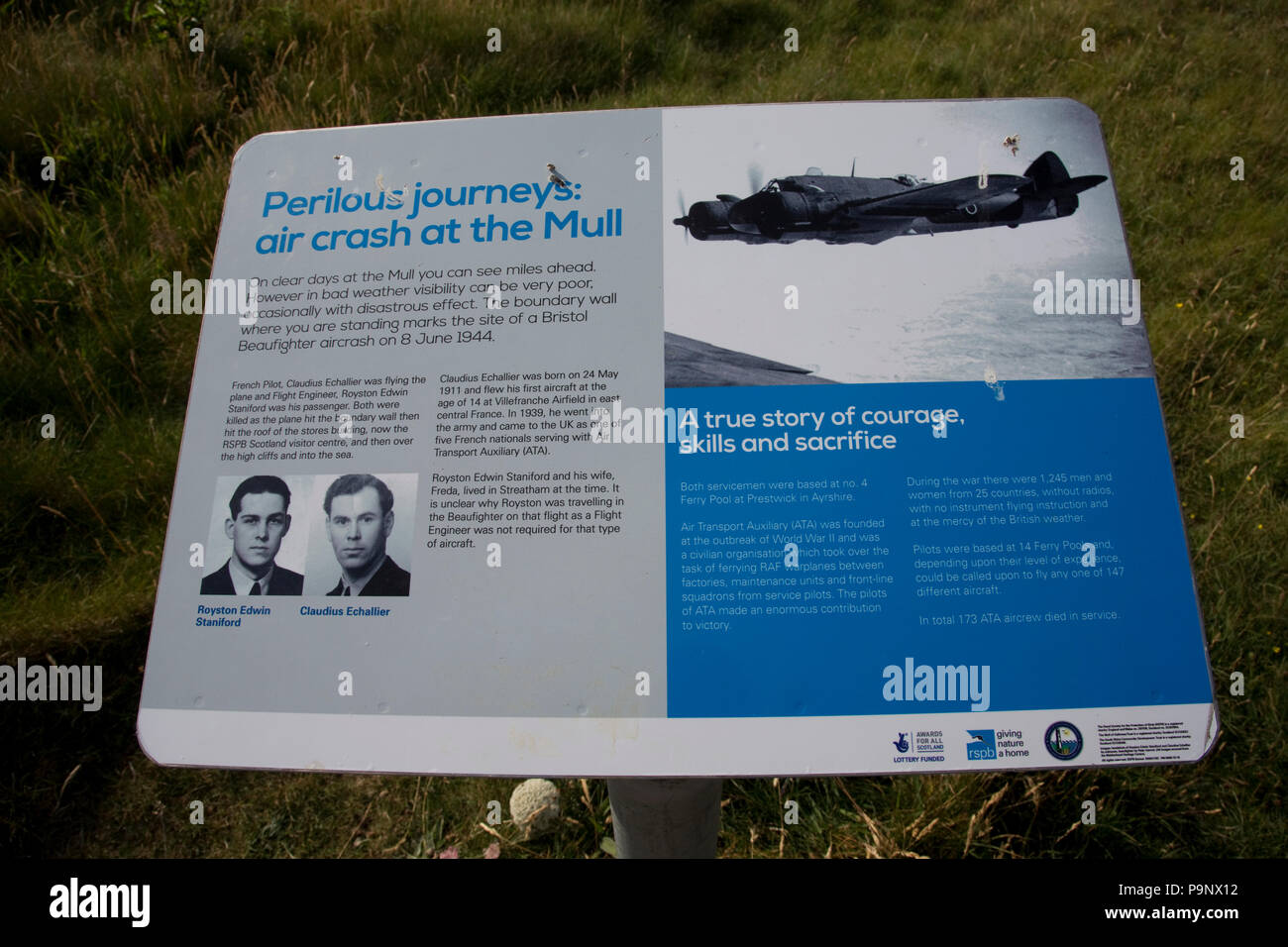Sign board air crash Mull of Galloway lighthouse Drumore Wigtownshire Dumfries and Galloway Scotland - Stock Image