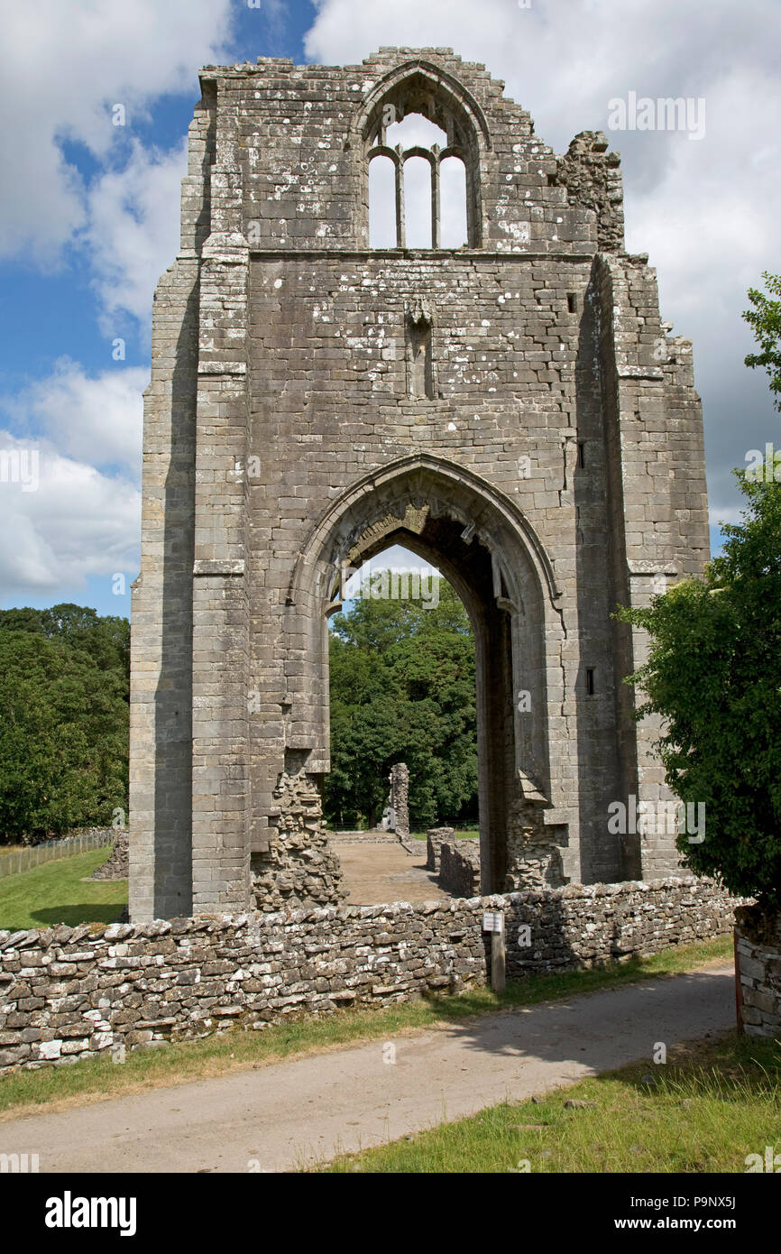 Shap Abbey a 12th century Christian monastery church of the Premonstratensian order of canons with 15th century tower on banks River Lowther near Keld - Stock Image