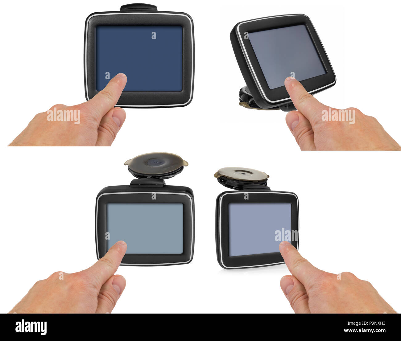 GPS car navigation with handle. The finger indicates the point on the satellite navigation screen. Black electronic map device with blue screen and si - Stock Image
