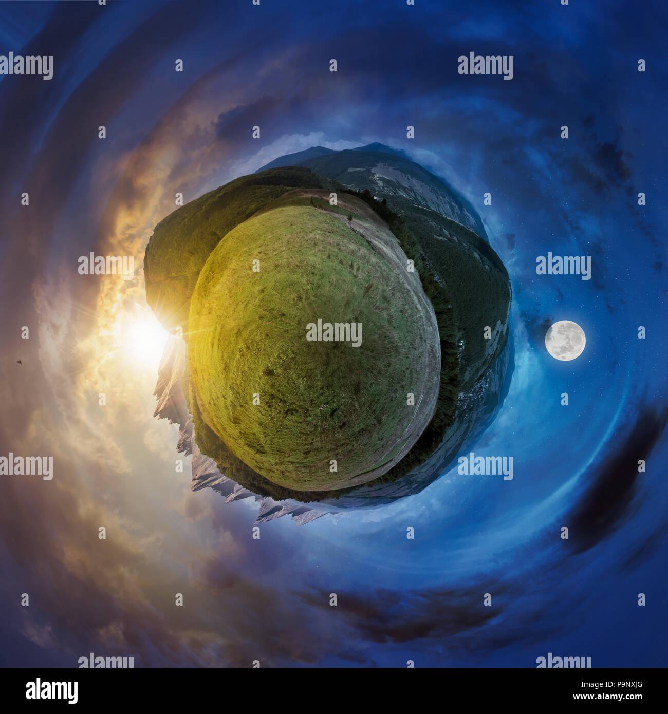 little mountain planet spherical panorama time change. lovely countryside concept with 360 degree view. agricultural field on hillside and village in  - Stock Image