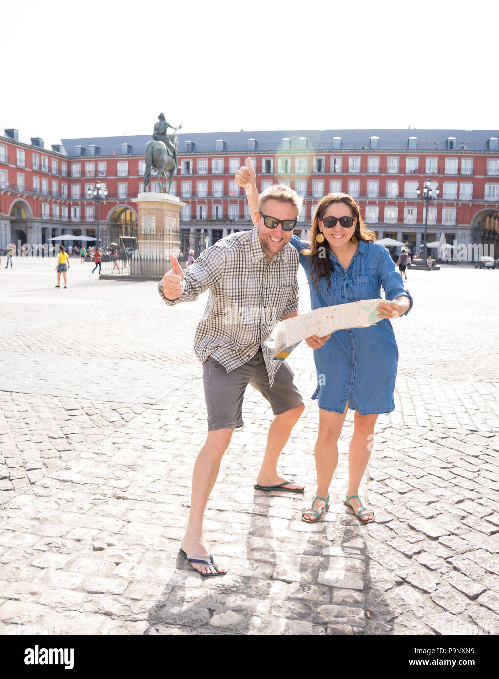 Madrid Spain Map Tourist.Happy Stylish Young Couple On Summer Vacation In Madrid Spain