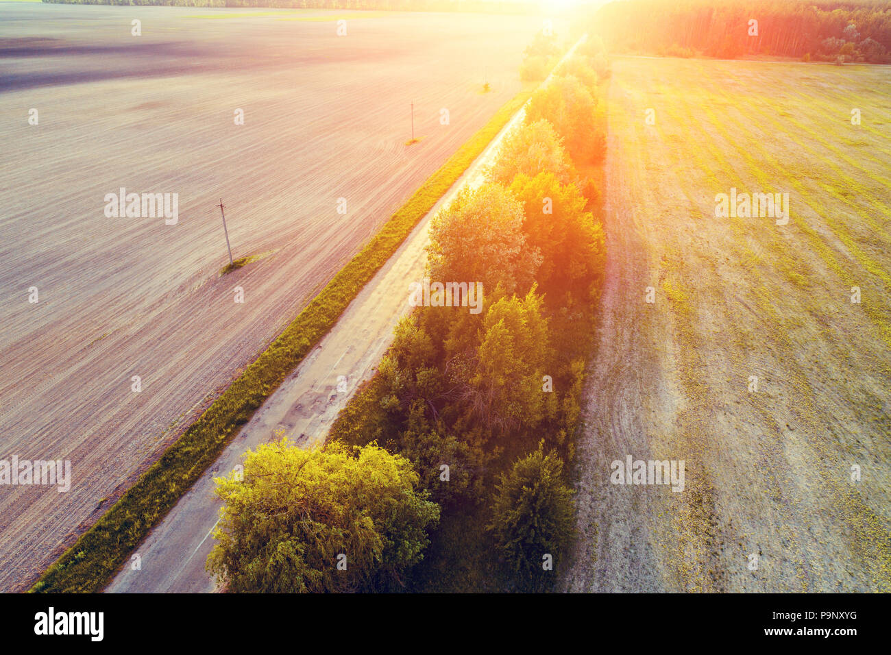 Aerial view of a country road at sunset. Rural evening landscape - Stock Image
