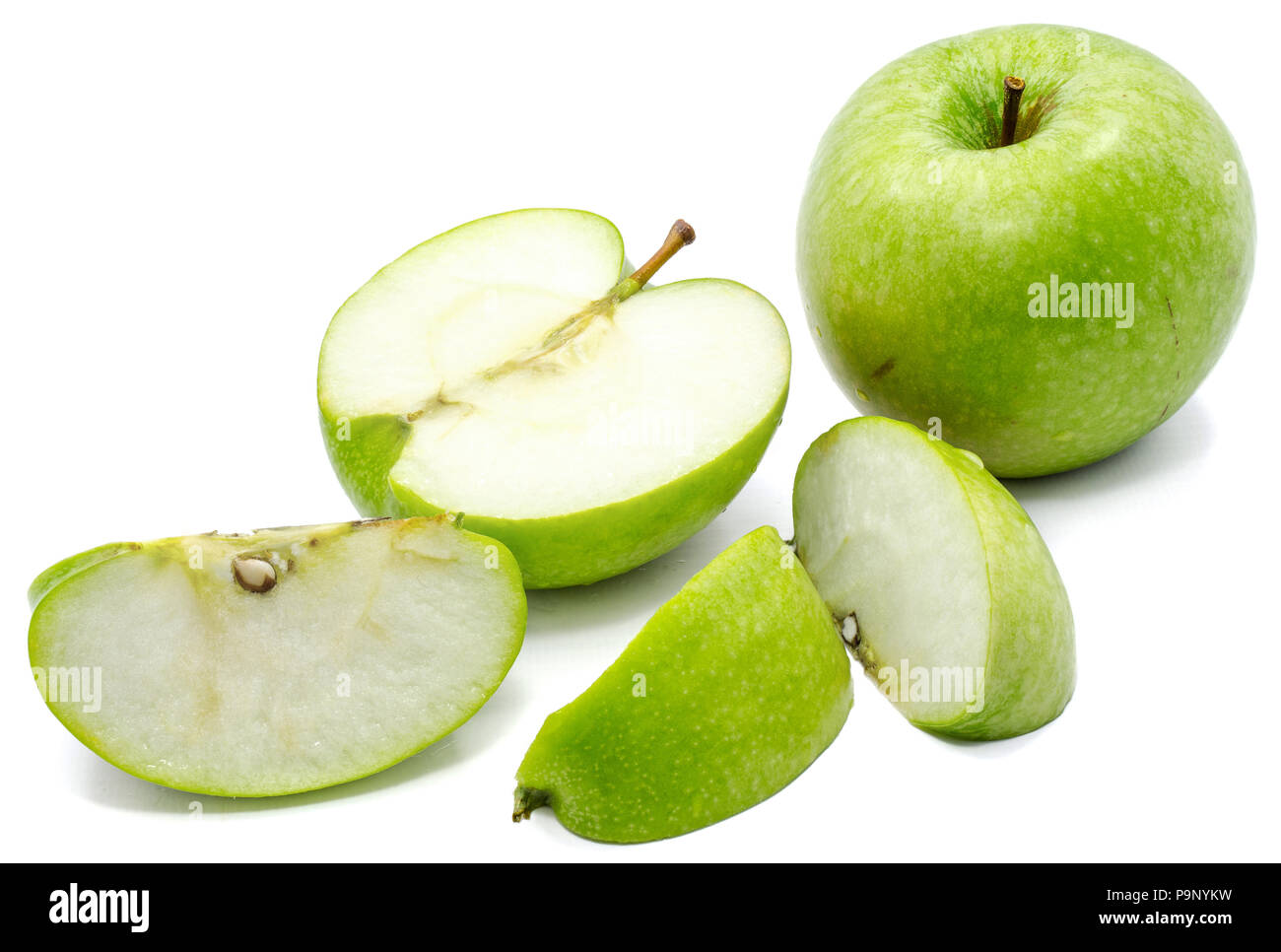 Sliced Apple Granny Smith One Whole Three Slices And One