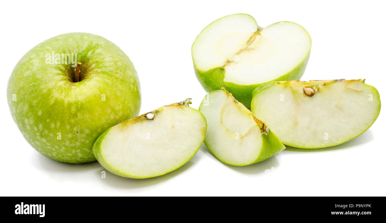One whole apple Granny Smith, slices and one half, isolated on white background - Stock Image