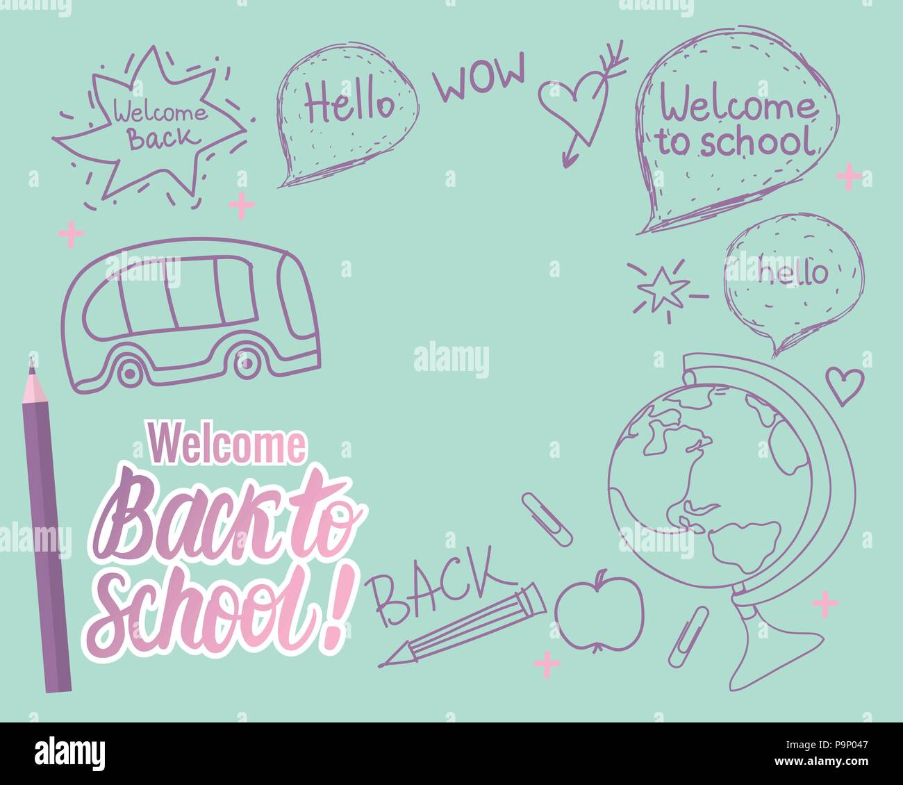 Welcome Back School Vector Illustration Stock Photos & Welcome Back ...