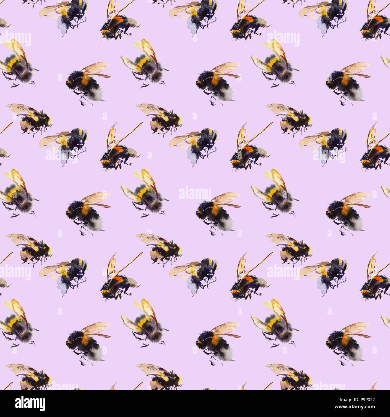 Watercolor bees seamless pattern isolated on white background. hand drawn watercolor illustration - Stock Image