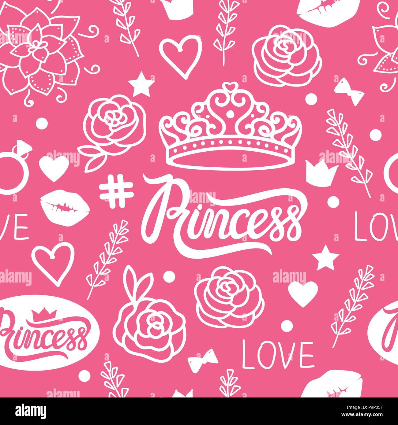 Vector Seamless pattern of design elements for girls. Hand drawing. Princess style - Stock Vector