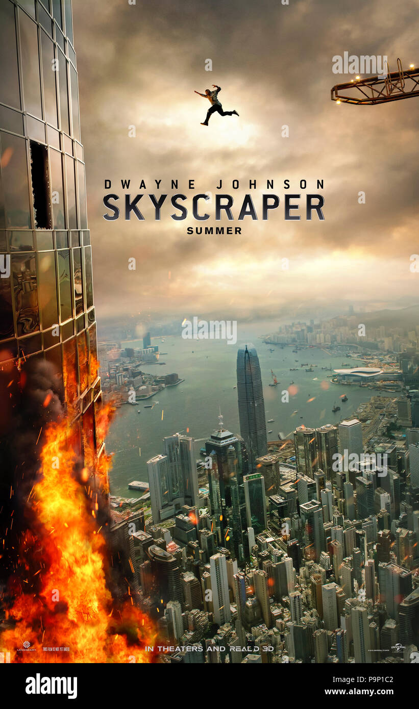 Skyscraper (2018) directed by Rawson Marshall Thurber and starring Dwayne Johnson, Neve Campbell, Pablo Schreiber and Noah Taylor. A security expert must rescue his family from a skyscraper that has been set alight. - Stock Image