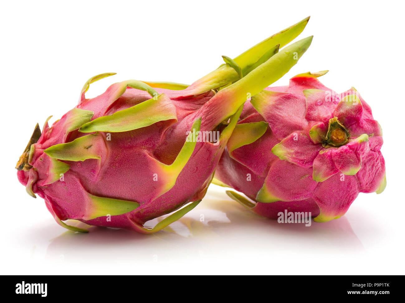 Dragon fruit (Pitaya, Pitahaya) isolated on white background two fresh - Stock Image