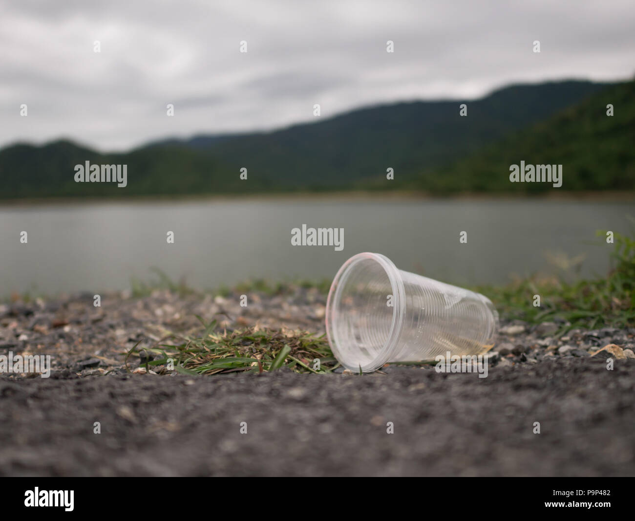 Plastic glasses were left by tourists. - Stock Image
