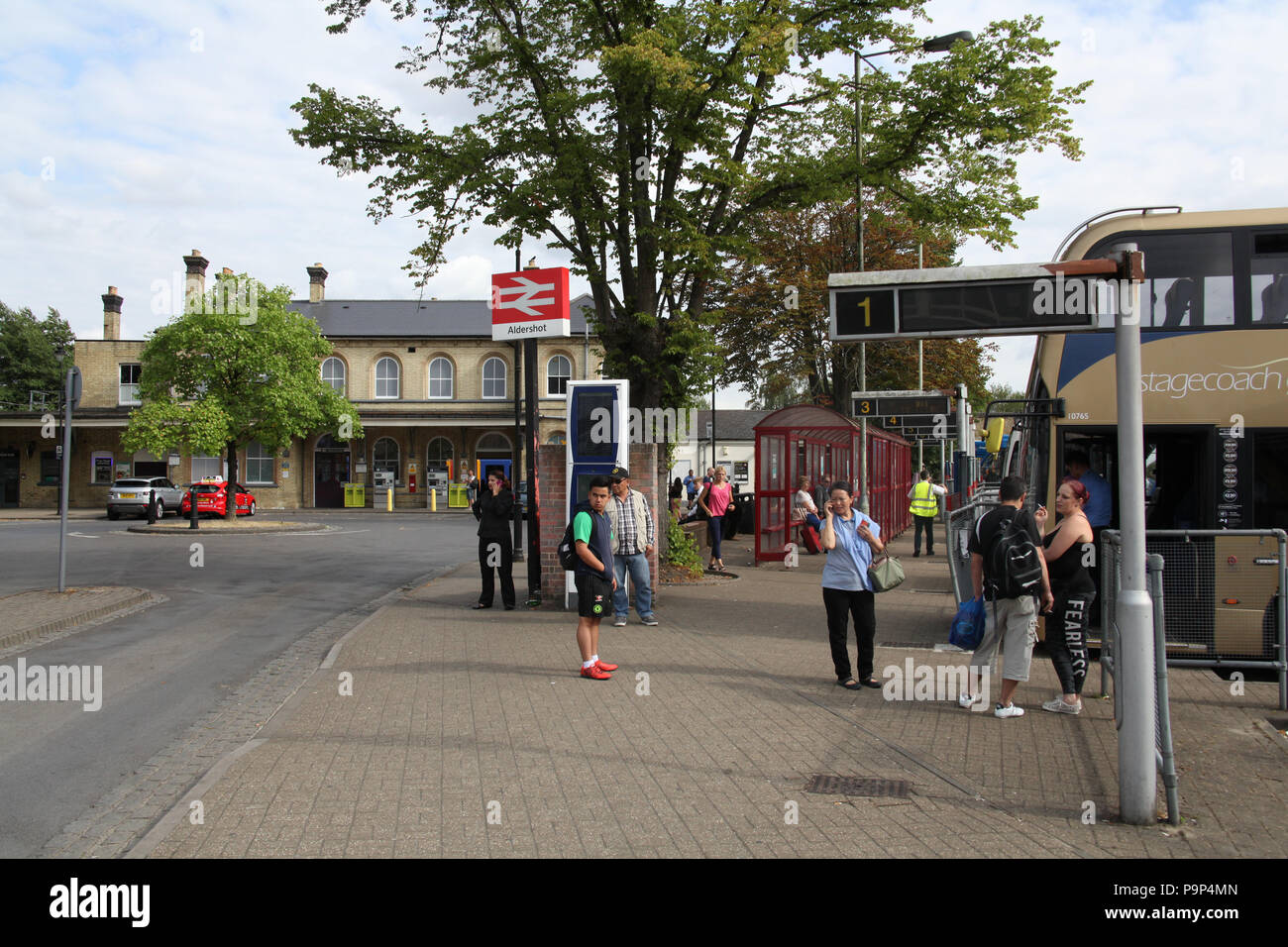 the bus and train station in aldershot england stock photo