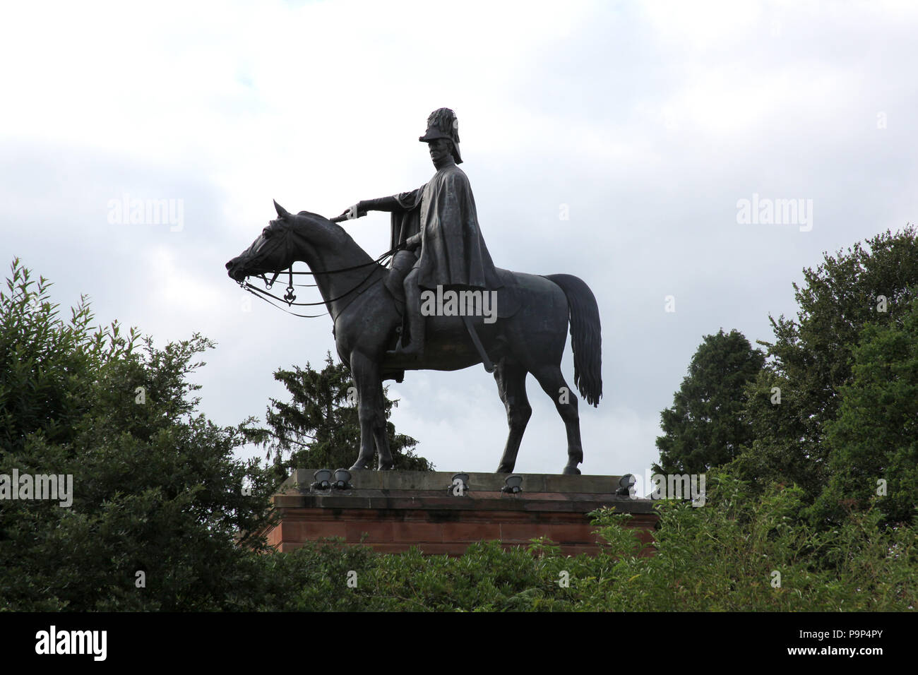 Equestrian statue of the Duke of Wellington, Aldershot, England. - Stock Image