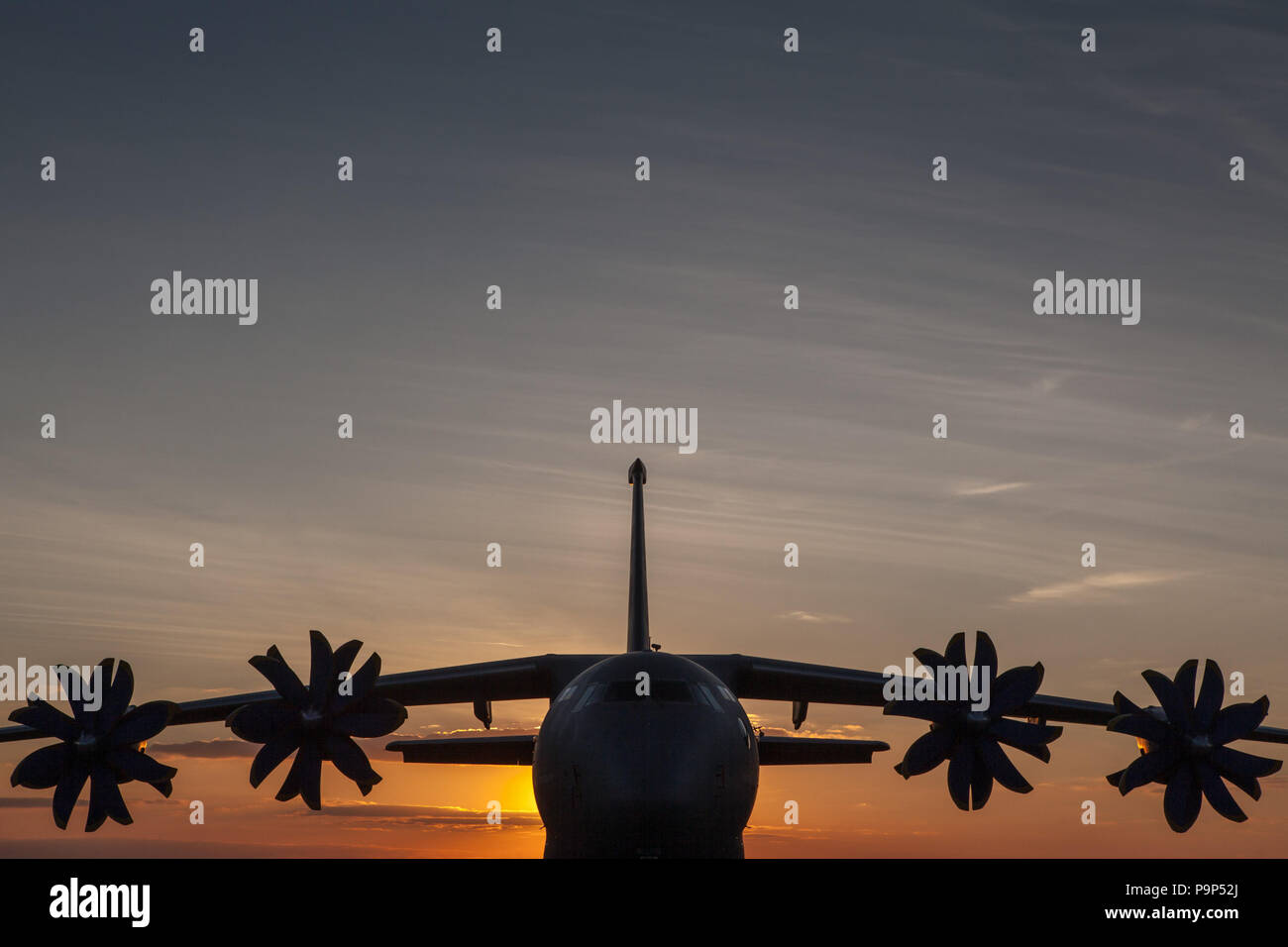 The Antonov An-70 four-engine medium-range transport aircraft, powered by propfan engines seen in sunset light on the first day of the MAKS-2013 inter - Stock Image
