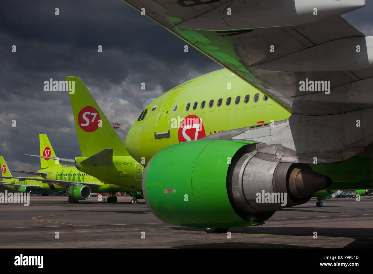 Civil jet airplanes of S7 Airlines (former Sibir) on the tarmac of Domodedovo airport, Moscow, Russia - Stock Image